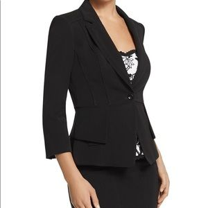WHBM Black Peplum 3/4 Sleeve Jacket Blazer 6